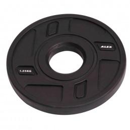 1.25 кг черный полиуретановый диск ALEX без отверстий Aerofit P-TPU-1.25K