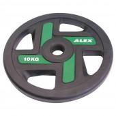 10 кг черный полиуретановый диск ALEX 4 отверстия P-TPU-10K