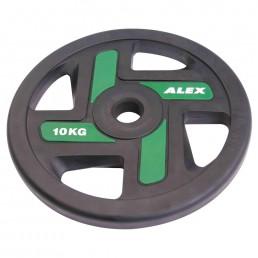 10 кг черный полиуретановый диск ALEX 4 отверстия Aerofit P-TPU-10K