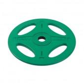 10 кг зеленый олимпийский обрезиненный диск ALEX 4 отверстия P-RO-10K-DSA
