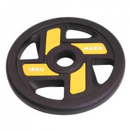 15 кг черный полиуретановый диск ALEX 4 отверстия Aerofit P-TPU-15K