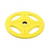 15 кг желтый олимпийский обрезиненный диск ALEX 4 отверстия P-RO-15K-DSA