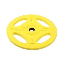 15 кг желтый олимпийский обрезиненный диск ALEX 4 отверстия Aerofit P-RO-15K-DSA