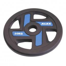 20 кг черный полиуретановый диск ALEX 4 отверстия Aerofit P-TPU-20K