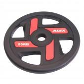 25 кг черный полиуретановый диск ALEX 4 отверстия P-TPU-25K