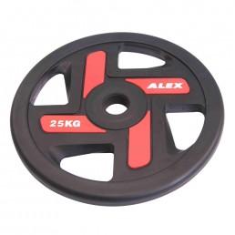 25 кг черный полиуретановый диск ALEX 4 отверстия Aerofit P-TPU-25K