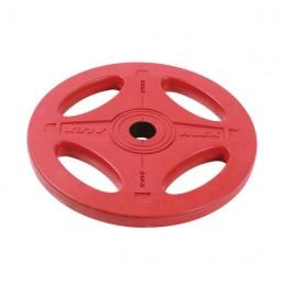25 кг красный олимпийский обрезиненный диск ALEX 4 отверстия Aerofit P-RO-25K-DSA