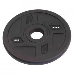 5 кг черный полиуретановый диск ALEX без отверстий Aerofit P-TPU-5K
