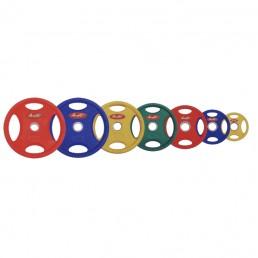 Цветной олимпийский обрезиненный диск Aerofit 10 кг с рукоятками Aerofit DB6060-10KG