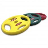 Желтый олимпийский полиуретановый диск Aerofit 1.25 кг с рукоятками DB6062-1.25