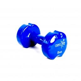 Синяя гантель в виниловой оболочке 5 кг Aerofit DB-VD-5K