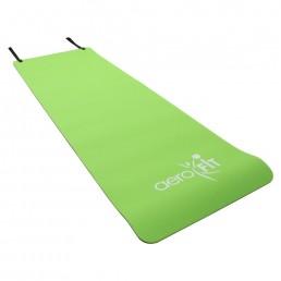 Зеленый, черный гимнастический коврик с отверстиями для хранения 180x60x1 см Aerofit FT-EM-POE-10-AF